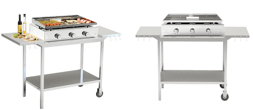 Chariots dessertes et supports pour plancha verycook for Chariot inox professionnel