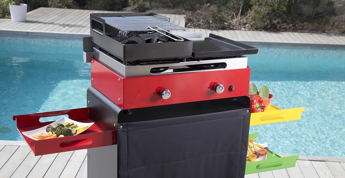 plancha barbecue combine rouge feux creative jardin